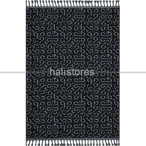 Halıstores - Etnik Desenli Siyah Kilim Rönesans 9206R (1)