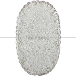 Liviadora - Fransız Dantelli Çeyizlik Oval Banyo Halısı Krem (1)