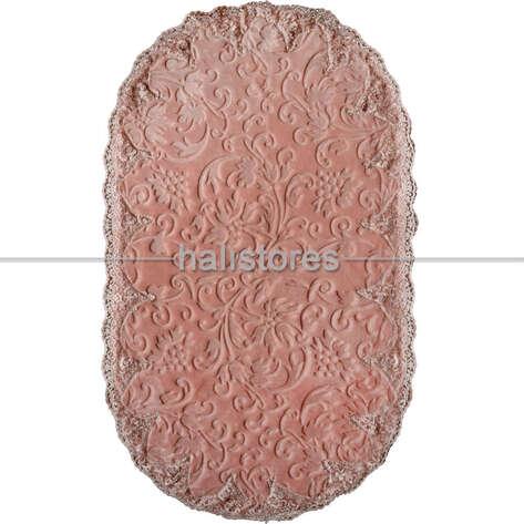 Fransız Dantelli Çeyizlik Oval Banyo Halısı Pudra