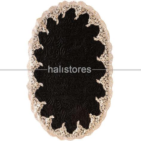 Liviadora - Fransız Dantelli Çeyizlik Oval Banyo Halısı Siyah (1)