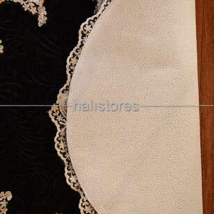 Fransız Dantelli Çeyizlik Oval Banyo Halısı Siyah - Thumbnail
