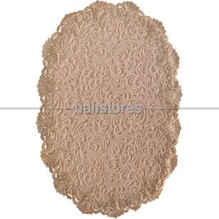 Liviadora - Fransız Dantelli Çeyizlik Oval Banyo Halısı Vizon (1)