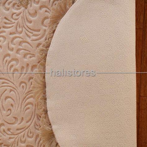Fransız Dantelli Çeyizlik Oval Banyo Halısı Vizon