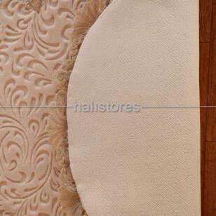 Fransız Dantelli Çeyizlik Oval Banyo Halısı Vizon - Thumbnail