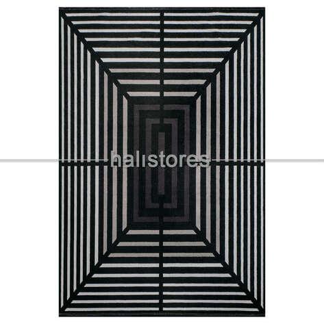 Bahariye Halı - Geometrik Desenli Halı Deep 6086 Siyah-Bej (1)