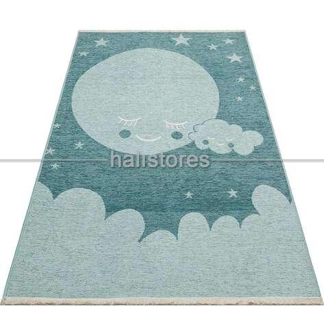 Halıstores - Gökyüzü Desenli Çift Taraflı Erkek Çocuk ve Bebek Halısı 02 Mavi (1)