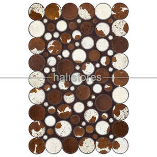 Liviadora - Kahve-Beyaz Deri Patchwork Halı (1)