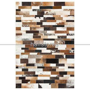 Liviadora - Kahve Renkli Deri Patchwork Halı (1)