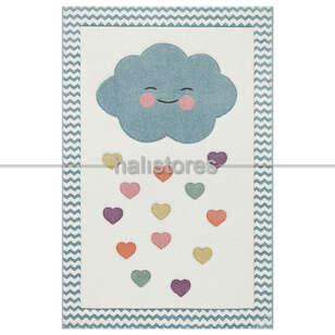 Halıstores - Kalpli Bulut Desenli Çocuk ve Bebek Halısı (1)