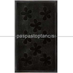 Kapı Paspası Halı Paspas Çiçekler Siyah - Thumbnail