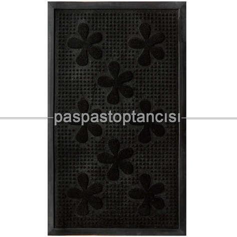 Kapı Paspası Halı Paspas Çiçekler Siyah