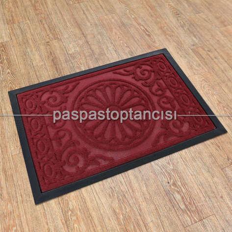 Paspas Toptancısı - Kapı Paspası Halı Paspas Papatya Bordo (1)