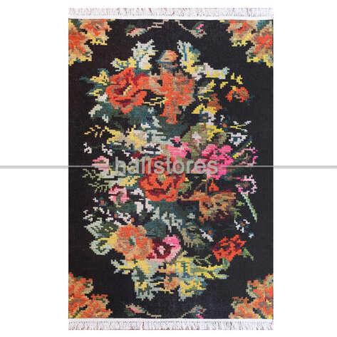 Halıstores - Karabağ Desenli Baskılı Halı 1502 Siyah (1)