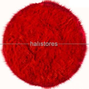 Liviadora Kırmızı Yuvarlak Post Halı - Thumbnail