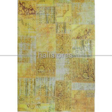 Liviadora - Liviadora Patchwork Desenli Sarı Halı (1)