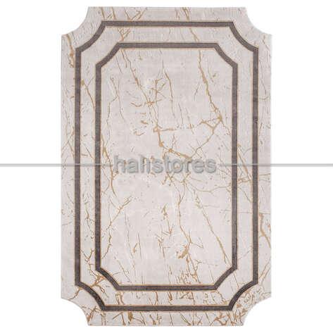Bahariye Halı - Mermer Desenli Çerçeveli Halı Deep 6088 Bej-Antrasit (1)