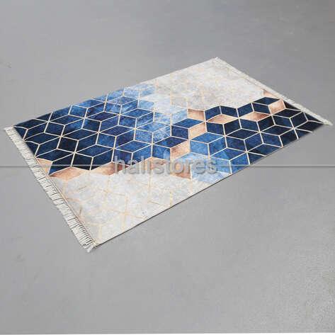 Halıstores - Modern Baskılı Dekoratif Yolluk Suetro Mavi (1)