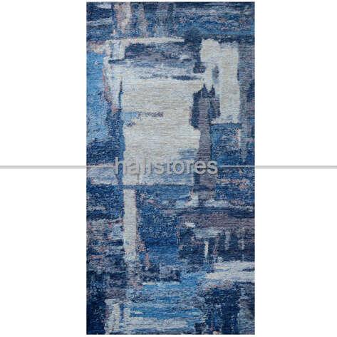 Modern Desenli Renkli Baskılı Halı SM 01 Mavi