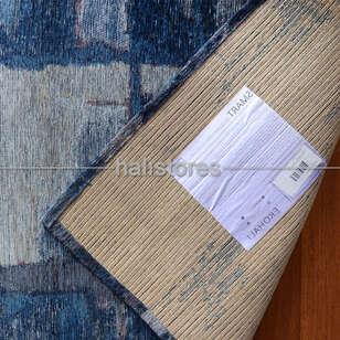 Modern Desenli Renkli Baskılı Halı SM 01 Mavi - Thumbnail