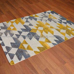 Eko Halı - Modern Desenli Renkli Baskılı Halı SM 11 Sarı (1)