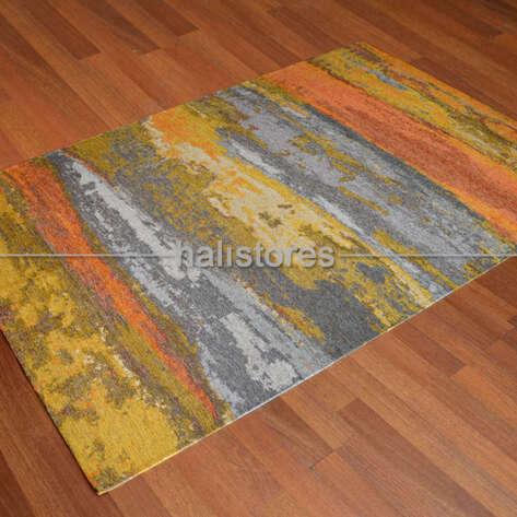 Eko Halı - Modern Desenli Renkli Baskılı Halı SM 12 Turuncu (1)