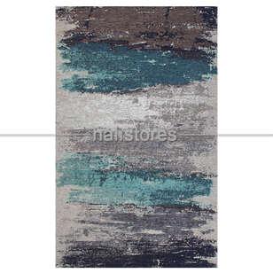 Eko Halı - Modern Desenli Renkli Baskılı Halı SM 36 Gri-Mavi (1)