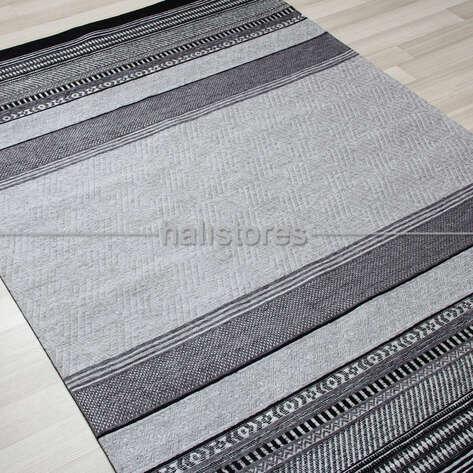 Eko Halı - Modern Desenli Renkli Baskılı Halı SM 40 Siyah (1)