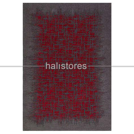 Eko Halı - Modern Desenli Renkli Baskılı Halı SM 42 Gri - Kırmızı (1)