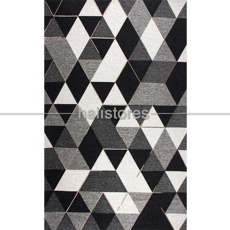 Eko Halı - Modern Desenli Renkli Baskılı Halı SM 44 Gri-Siyah (1)