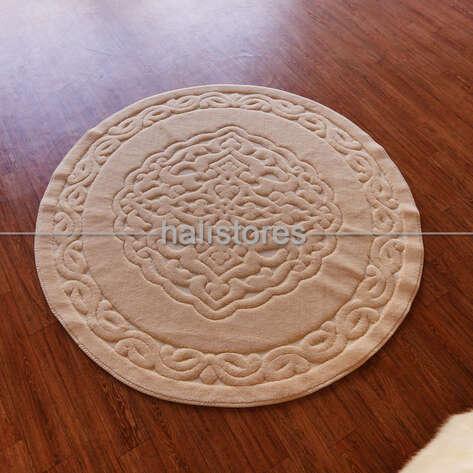 Halıstores - Ottoman %100 Pamuk Yıkanabilir Cappucino Yuvarlak Halı (1)
