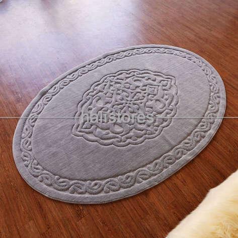 - Ottoman %100 Pamuk Yıkanabilir Gri Oval Halı (1)
