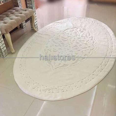 Halıstores - Ottoman %100 Pamuk Yıkanabilir Kemik Oval Halı (1)