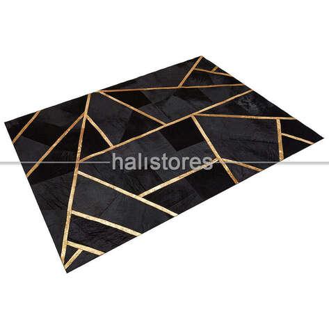 Liviadora - Özel Tasarım Varaklı Siyah Deri Patchwork Halı (1)