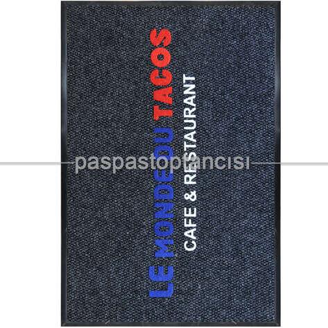 Paspas Toptancısı - Restaurant için Logolu Siyah Paspas (1)