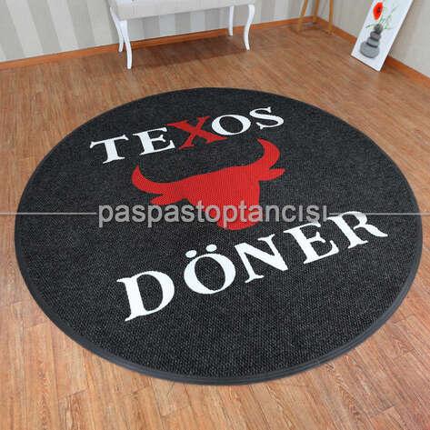 Paspas Toptancısı - Restaurant için Logolu Yuvarlak Paspas (1)