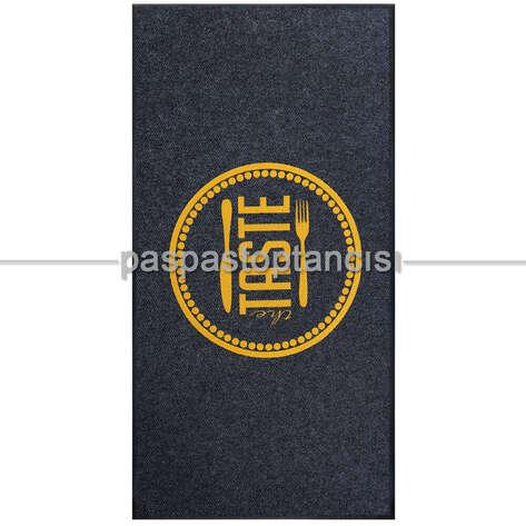 Paspas Toptancısı - Restaurant için Özel Logolu Siyah Paspas (1)