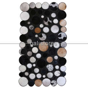 Siyah-Beyaz Deri Patchwork Halı - Thumbnail