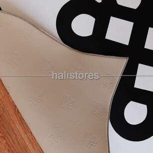 Siyah-Beyaz Özel Tasarım Dekoratif Halı - Thumbnail