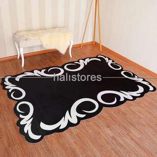 - Siyah-Beyaz Tasarım Dekoratif Halı (1)