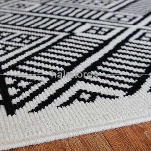 Siyah Beyaz Yün Kilim Halı Hattuşa Ht-04 Beyaz - Thumbnail