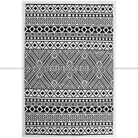 Liviadora - Siyah Beyaz Yün Kilim Halı Hattuşa Ht-04 Beyaz (1)
