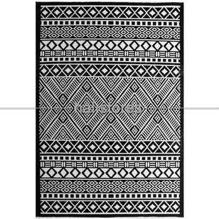 Siyah Beyaz Yün Kilim Halı Hattuşa Ht-04 Siyah - Thumbnail