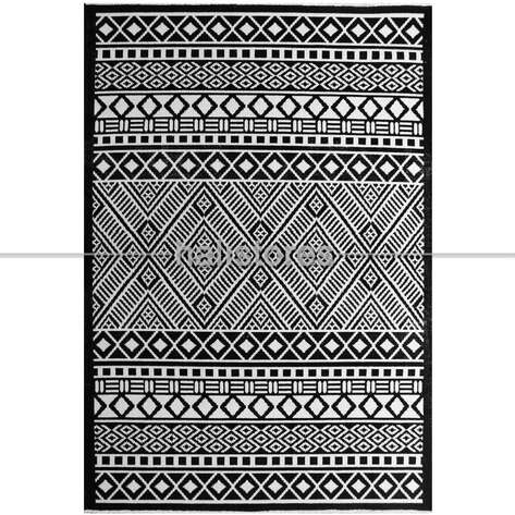 Siyah Beyaz Yün Kilim Halı Hattuşa Ht-04 Siyah
