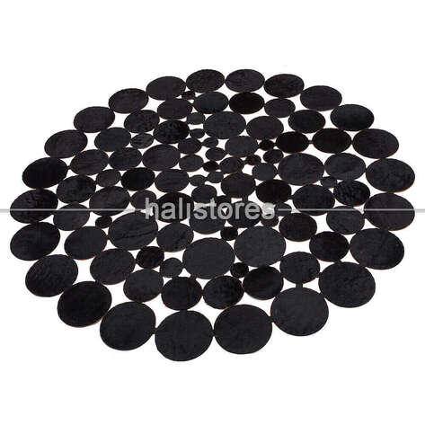 Liviadora - Siyah Yuvarlak Deri Patchwork Halı (1)