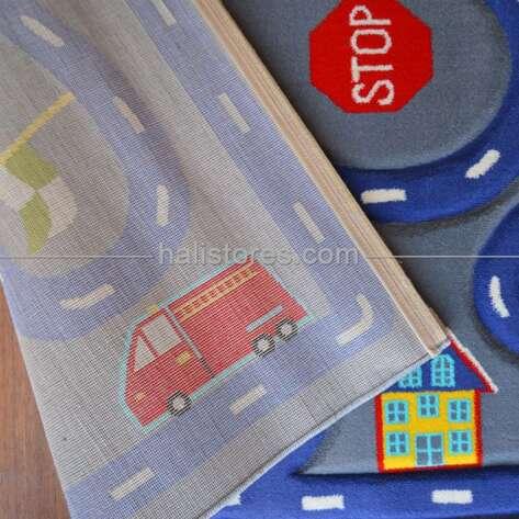 Trafik Desenli Çocuk Halıları Mavi Kids 513