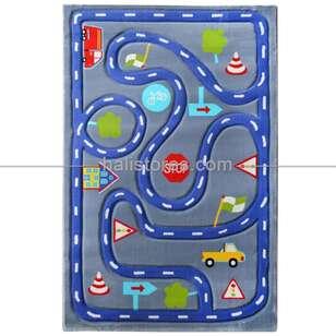 Trafik Desenli Çocuk Halıları Mavi Kids 513 - Thumbnail