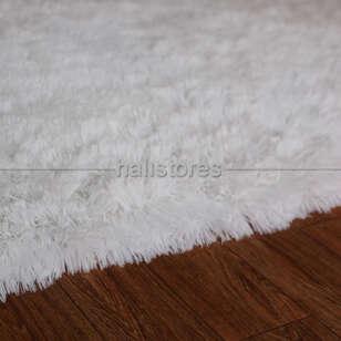 Yıkanabilir Uzun Tüylü Beyaz Halı - Thumbnail