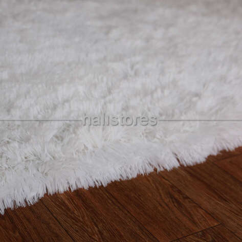 Yıkanabilir Uzun Tüylü Beyaz Halı