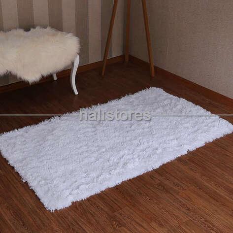 Halıstores - Yıkanabilir Uzun Tüylü Beyaz Halı (1)