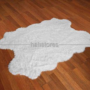 - Yıkanabilir Uzun Tüylü Beyaz Post Halı 140 x 200 (1)